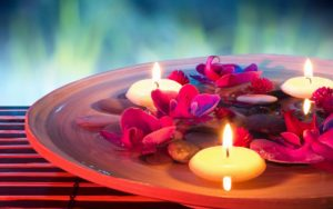 Candle-light-flowers-and-stone-nice wallpaper