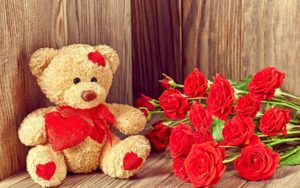 I-love-you-red-rose-flowers-and-teddy-Full HD 1920x1080 Wallpapers