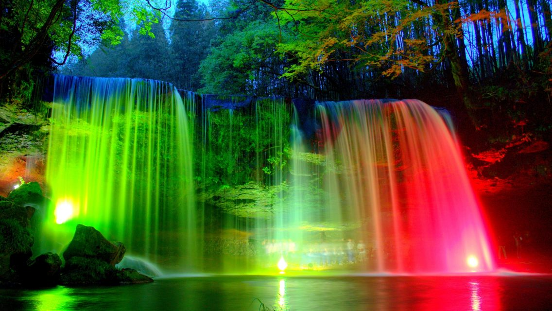 Waterfall And Rainbow Wallpaper 3d Nature