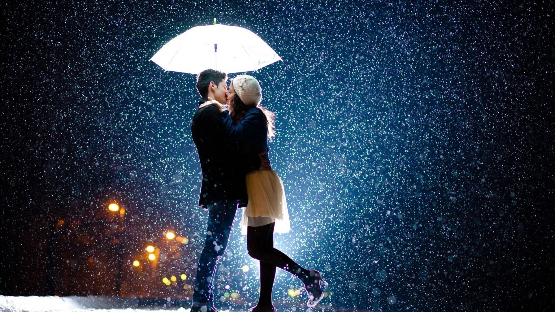 Love Feeling Wallpaper: Wedding Rain Background