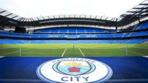 Manchester Citys crest is on display in the Etihad Stadium-Manchester City Wallpapers 2018