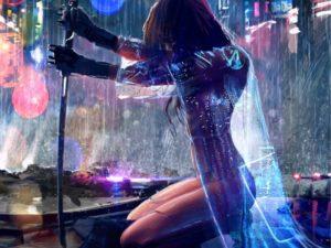 Women-Warrior-Artwork-Sword-Rain-cyberpunk wallpapers