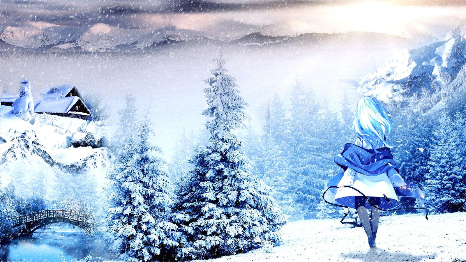 Winter Anime Girl Wallpaper: Anime Winter Scenery Wallpaper